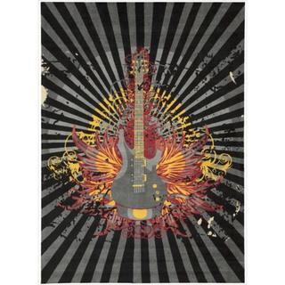 Altered State Edgy Guitar Grey Rug (4' x 6')