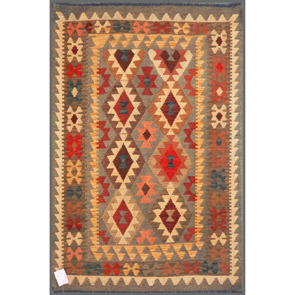 Afghan Hand-knotted Mimana Kilim Gray/ Red Wool Rug (3'5 x 5')