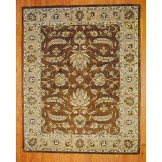 Indo Hand-tufted Mahal Brown/ Beige Wool Rug (8' x 10')