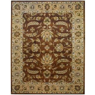 Indo Hand-tufted Mahal Brown/ Beige Wool Rug (8' x 10')