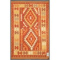Afghan Hand-knotted Mimana Kilim Red/ Orange Wool Rug (3'3 x 4'10)