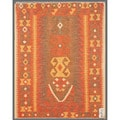 Afghan Hand-knotted Mimana Kilim Light Brown/ Pink Wool Rug (3'2 x 4')