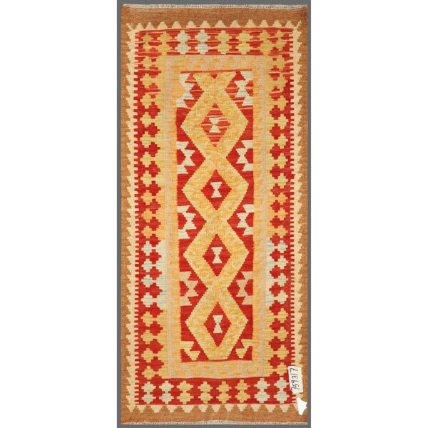 Afghan Hand-knotted Mimana Kilim Beige/ Red Wool Rug (2'3 x 5')