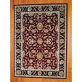 Indo Hand-tufted Mahal Red/ Black Wool Rug (8' x 11')