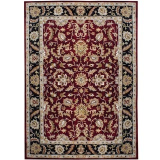 Herat Oriental Indo Hand-tufted Mahal Red/ Black Wool Rug (8' x 11')
