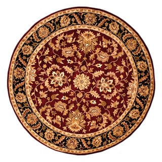 Herat Oriental Indo Hand-tufted Mahal Red/ Black Wool Rug (8' x 8' Round)