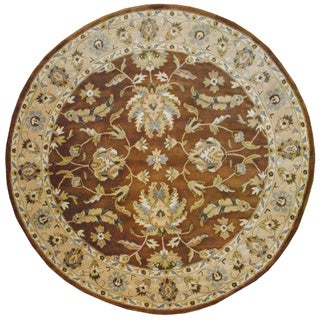 Indo Hand-tufted Mahal Brown/ Beige Wool Rug (8' x 8' Round)