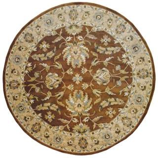 Herat Oriental Indo Hand-tufted Mahal Brown/ Beige Wool Rug (8' Round)