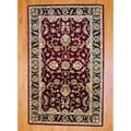 Indo Hand-tufted Mahal Red/ Black Wool Rug (5' x 8')