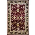 Herat Oriental Indo Hand-tufted Mahal Red/ Black Wool Rug (5' x 8')