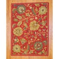 Indo Hand-tufted Mahal Rust/ Green Wool Rug (5' x 7')