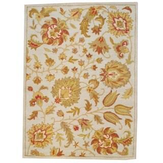 Indo Hand-tufted Mahal Beige/ Light Green Wool Rug (5' x 7')