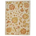 Indo Hand-tufted Mahal Beige/ Light Green Wool Rug (5' x 7')