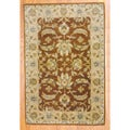 Indo Hand-tufted Mahal Brown/ Beige Wool Rug (4' x 6')