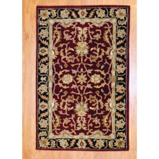 Indo Hand-tufted Mahal Red/ Black Wool Rug (3'3 x 5'3)
