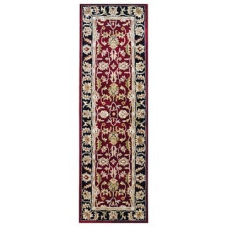 Indo Hand-tufted Mahal Red/ Black Wool Rug (2&#39;6 x 8&#39;)