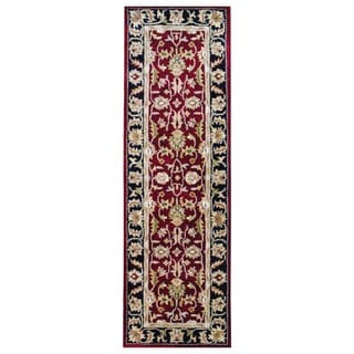 Indo Hand-tufted Mahal Red/ Black Wool Rug (2'6 x 8')