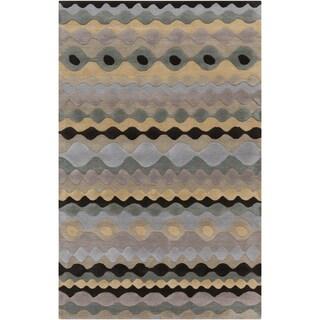 Hand-tufted SandyGeo Grey Geometric Shapes Wool Rug (8' x 11')