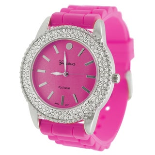 Geneva Platinum Womens Rhinestone Watch