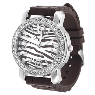 Geneva Platinum Women's Brown Striped Rhinestone Silicone Watch
