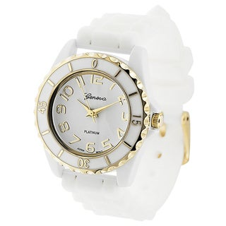 Geneva Platinum Women's White and Gold Silicone Watch
