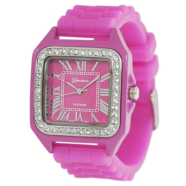 Geneva Platinum Women's Rhinestone Hot Pink Silicone Watch