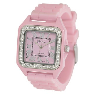 Geneva Platinmum Women's Rhinestone Light Pink Silicone Watch
