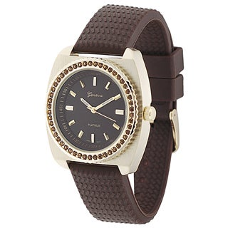 Geneva Platinum Women's Brown and Gold Rhinestone Silicone Watch