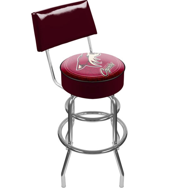 Officially Licensed NHL Padded Chrome-Plated Bar Stool with Back