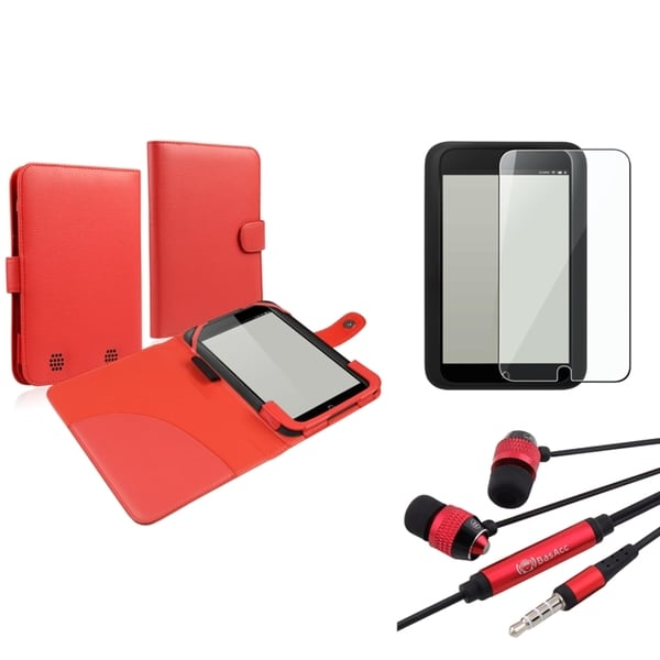 INSTEN Red Phone Case Cover/ Screen Protector/ Headset for Barnes & Noble Nook HD
