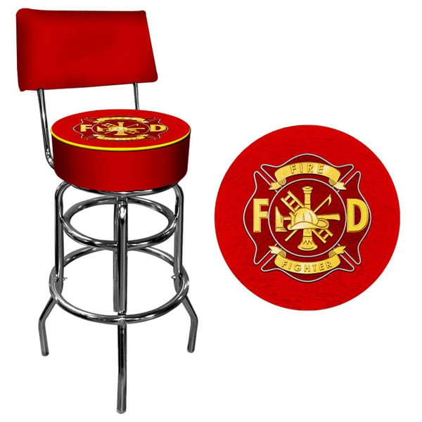Fire Fighter Padded Bar Stool with Back