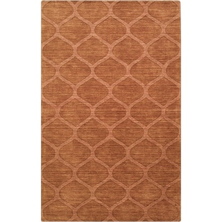 Hand-crafted Solid Orange Lattice Willard Wool Rug (8' x 11')