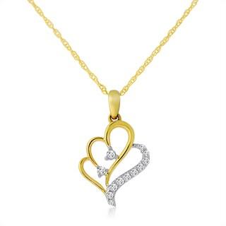 10k Two-tone Gold 1/10ct TDW Diamond Double Heart Necklace (H-I, I1-I2)