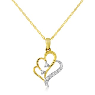 10k Two-tone Gold 1/10ct TDW Diamond Double Heart Necklace (H-I, I1-I2)