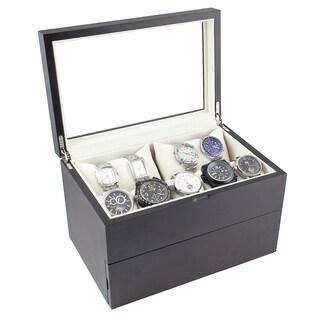 Caddy Bay Collection Dual Level Vintage Dark Walnut Glass Top Watch Case
