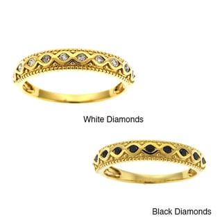 Beverly Hills Charm 14k Yellow Gold 1/6ct TDW Black or White Diamond Band