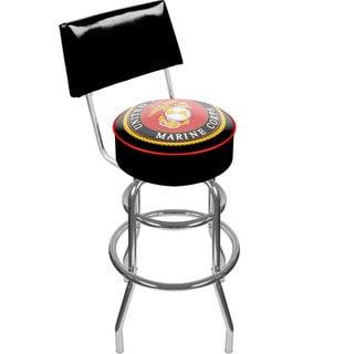 Trademark Games United States Marine Corps Padded Swivel Bar Stool with Back