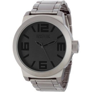 Kenneth Cole Men's Reaction Grey Silverplated Black-Dial Stainless-Steel Analog Quartz Watch