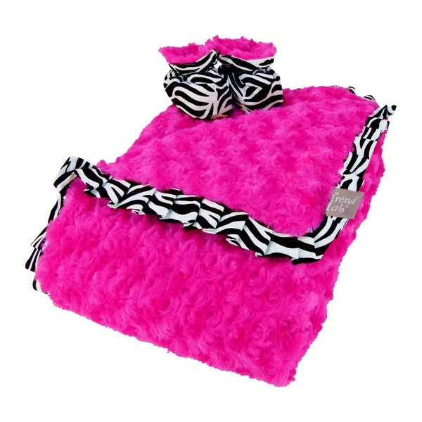 Trend Lab Zahara Zebra Luxe Blanket and Booties Gift Set