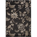 Coffee Floral Charcoal Gray Rug (5'3 x 7'6)