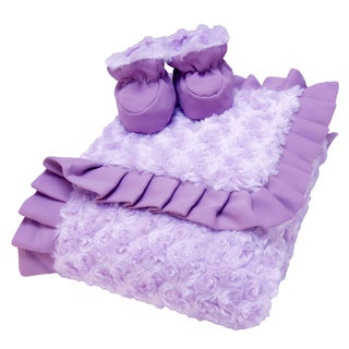 Trend Lab Lilac and Plum Swirl Velour Luxe Blanket and Booties Gift Set