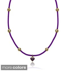 Little Miss Twin Stars 14k Goldplated Enamel Heart and Rubber Cord Necklace