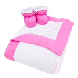 Trend Lab Pink Peek-A-Boo Faux Fur Luxe Blanket and Booties Gift Set