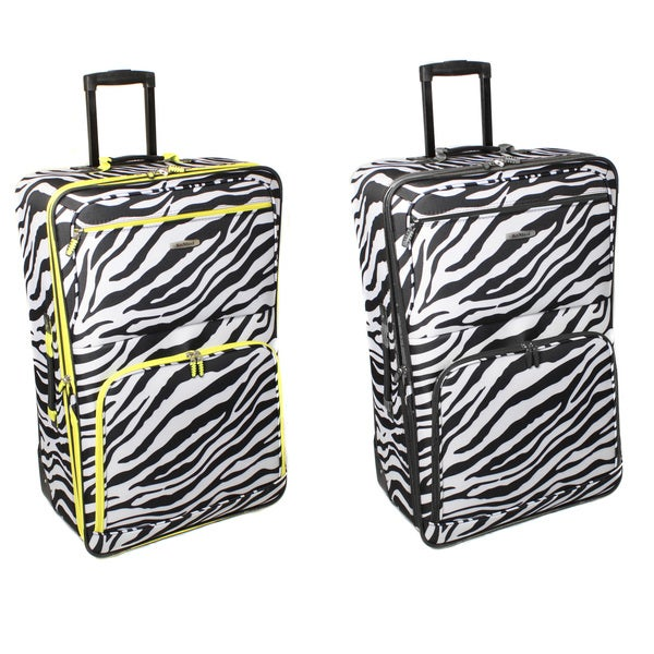Rockland Deluxe Zebra 28-inch Expandable Rolling Upright Suitcase