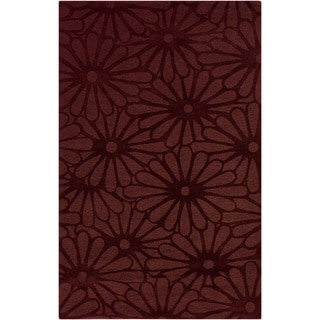 Hand-crafted Scarlet Daisies Red Floral Wool Rug (8' x 11')