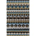 Hand-tufted Blue Geometric Shapes Wool Rug (5' x 8')