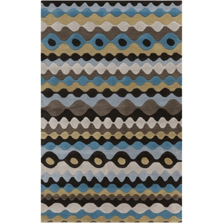 Hand-tufted Blue Geometric Shapes Wool Rug (8' x 11')