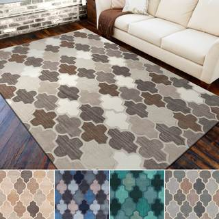 Hand-tufted Moroccan Geometric Grey Wool Area Rug (5' x 8')