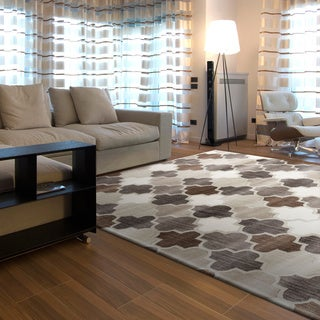Hand-tufted Moroccan Geometric  Grey Wool Area Rug (5' x 8')