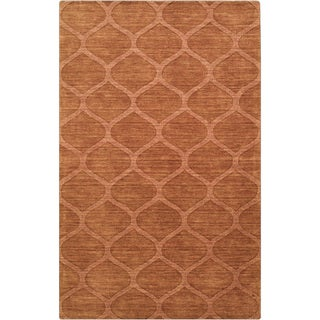 Hand-crafted Solid Orange Lattice Willard Wool Rug (2' x 3')